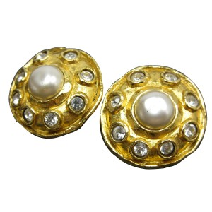 Chanel Gold Tone Simulated Glass Pearl Stone Earrings