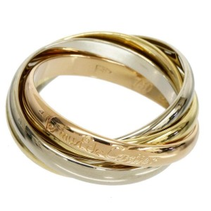 Cartier Trinity 18K White Yellow And Pink Ring Size 5.75
