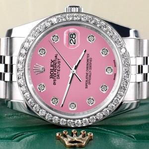 Rolex Datejust 116200 36mm 1.85ct Diamond Bezel/Hot Pink Diamond Dial Steel Watch
