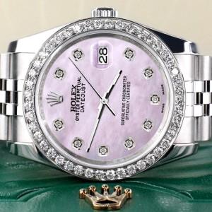 Rolex Datejust 116200 36mm 1.85ct Diamond Bezel/Pink Pearl Diamond Dial Steel Watch