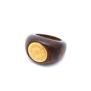 Hermes Gold Tone Metal Wood Ring