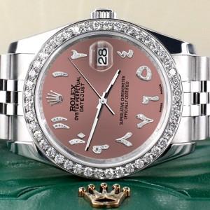 Rolex Datejust 116200 36mm 2.0ct Diamond Bezel/Salmon Diamond Arabic Dial Steel Watch