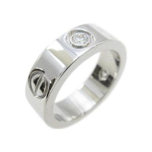 Cartier 18K White Gold Love Half Diamond Ring Size: 4.5