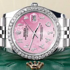 Rolex Datejust 116200 36mm 2.0ct Diamond Bezel/Pink Flower Diamond Arabic Dial Steel Watch