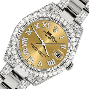 Rolex Datejust II 41mm Diamond Bezel/Lugs/Bracelet/Champagne Roman Dial Steel Watch 116300