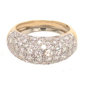 18k Two-tone Gold Pave Single Cut Diamond Ring