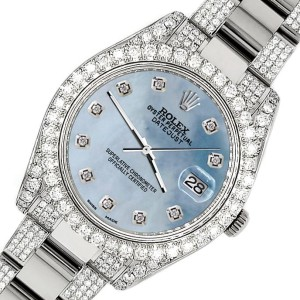 Rolex Datejust II 41mm Diamond Bezel/Lugs/Bracelet/Sky Blue MOP Diamond Dial Steel Watch 116300