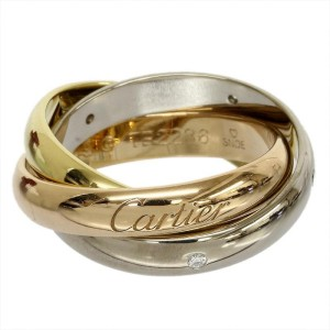 Cartier 18K Pink  White And Yellow Gold 3 Band 5P Diamonds Ring US Size 4.75