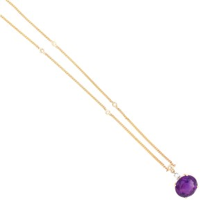 Lovely 14k Yellow Gold Amethyst Pendant with Diamond By the Yard Necklace