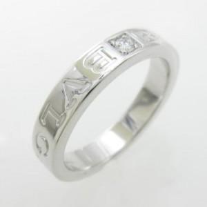 Bulgari 18K White Gold Double Logo Ring