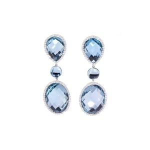 Estate Roberto Coin 18K White Gold Topaz and Diamond Earrings