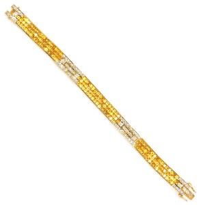 18k Yellow Gold Diamond and Yellow Sapphire Bracelet