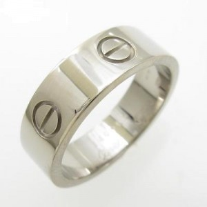 Cartier 750 White Gold Love Ring Size: 8