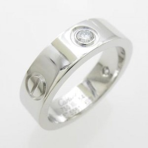 Cartier 750 White Gold Love Half Diamond Ring Size: 6.75