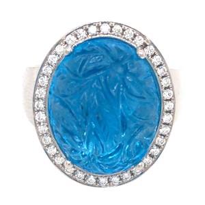 18k White Gold Carved Topaz and Diamond Ring