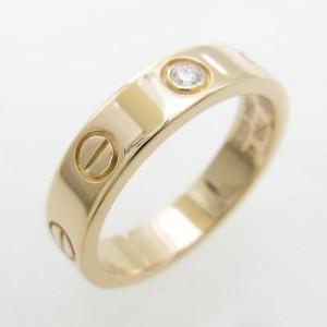 Cartier 18K Pink Gold & 0.02ct Diamond Mini Love Ring Size 4.5