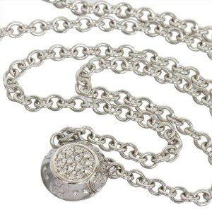 Gucci 18K White Gold Pave Diamond Icon Twirl Pendant Necklace
