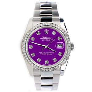 Rolex Datejust 36MM Steel Oyster Watch with Custom Diamond Bezel