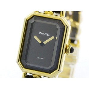 Chanel Premiere Size L Gold Plated Leather Strap Quartz Womens Watch