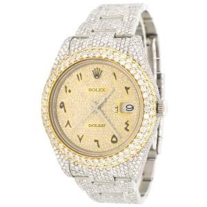 Rolex Datejust II 41mm 2-Tone Pave Diamond Watch w/23.3ct Diamond Bezel/Lugs/Bracelet/Roman Dial