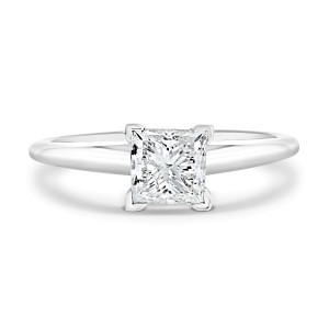 1.00 Carat Princess cut Diamond Solitaire Ring in HI Color I2 Clarity in 14K White Gold