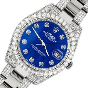 Rolex Datejust II 41mm Diamond Bezel/Lugs/Bracelet/Royal Blue MOP Diamond Dial Steel Watch 116300
