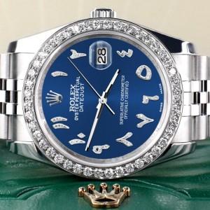 Rolex Datejust 116200 36mm 2.0ct Diamond Bezel/Cobalt Blue Diamond Arabic Dial Steel Watch