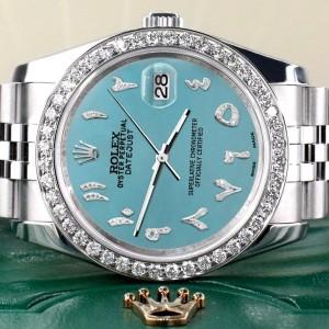 Rolex Datejust 116200 36mm 2.0ct Diamond Bezel/Turquoise Diamond Arabic Dial Steel Watch