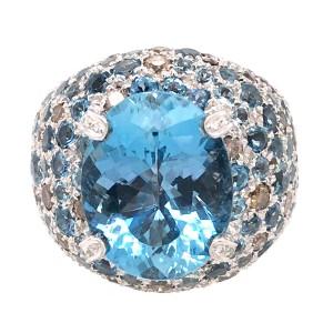 18k White Gold Aquamarine and Diamond Cocktail Ring