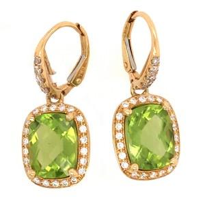 18k Yellow Gold Diamond and Peridot Drop Earrings