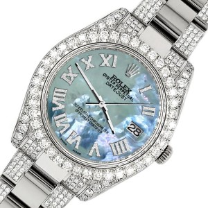 Rolex Datejust II 41mm Diamond Bezel/Lugs/Bracelet/Tahitian Blue Roman Dial Steel Watch 116300