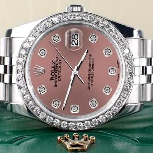 Rolex Datejust 116200 36mm 1.85ct Diamond Bezel/Salmon Diamond Dial Steel Watch