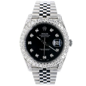 Rolex Datejust 41 Steel Jubilee Watch 5.9CT Diamond Bezel/Lugs/Sides/Black Dial 126300