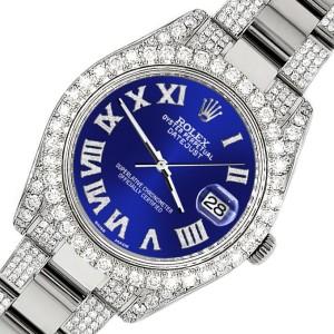 Rolex Datejust II 41mm Diamond Bezel/Lugs/Bracelet/Navy Blue Roman Dial Steel Watch 116300