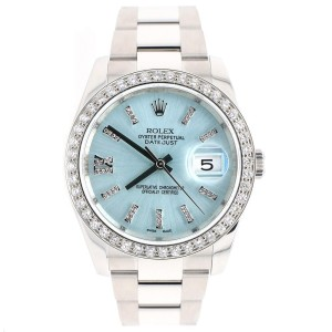 Rolex Datejust 116200 36mm 1.95ct Diamond Bezel/Ice Blue Diamond Dial Steel Watch