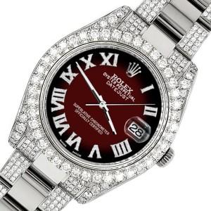 Rolex Datejust II 41mm Diamond Bezel/Lugs/Bracelet/Maroon Vignette Roman Dial Steel Watch 116300