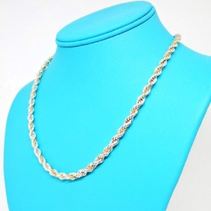 Tiffany & Co. Vintage 18K Yellow Gold and 925 Sterling Silver Rope Necklace