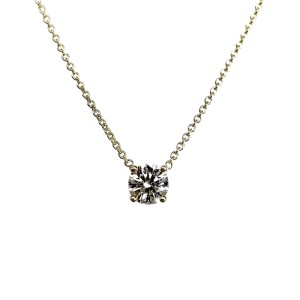 18K Yellow Gold with 0.51ct Round Cut Diamonds Pendant Necklace