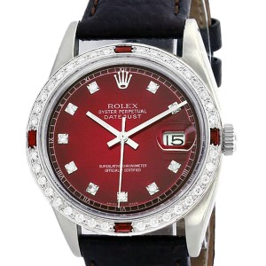Rolex Datejust 16014 Stainless Steel & Red Vignette Diamond Dial 36mm Mens Watch