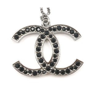 Chanel Silver Tone Metal Black CC Crystal Large Pendant Necklace