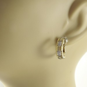 Roberto Coin 18K Yellow and White Gold with 0.27ct. Single Row Diamond Earrings