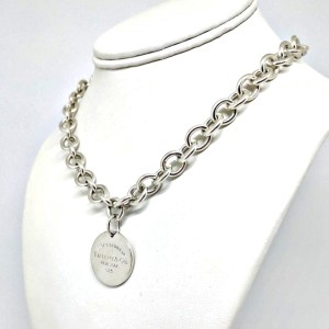 """Tiffany & Co. 925 Sterling Silver """"Return To Tiffany"""" Round Tag Necklace"""