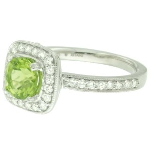 Ritani 18k White Gold Peridot .44ctw Diamond Ring Size 6.5