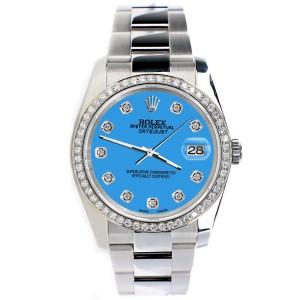 Rolex Datejust 36MM Steel Oyster Watch with Custom Diamond Bezel/Blue Diamond Dial 116200