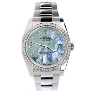 Rolex Datejust 36MM Steel Oyster Watch with Custom Diamond Bezel/Tahitian Blue Diamond Dial 116200