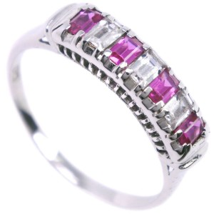 14k white gold/Ruby/diamond Ring