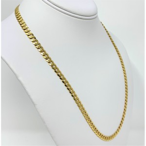 14k Yellow Gold Diamond Cut Curb Link Chain Necklace