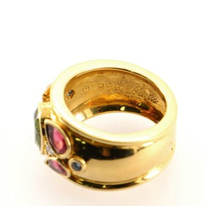 Cartier Band Ring 18K Yellow Gold with Tourmaline Sapphire and Diamond