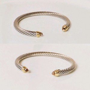 David Yurman 925 Sterling Silver & 18K Yellow Gold with Morganite Classic Cable Cuff Bracelet