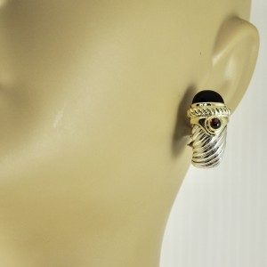David Yurman Sterling Silver 14K Yellow Gold Black Onyx Carnelian Renaissance Torch Earrings